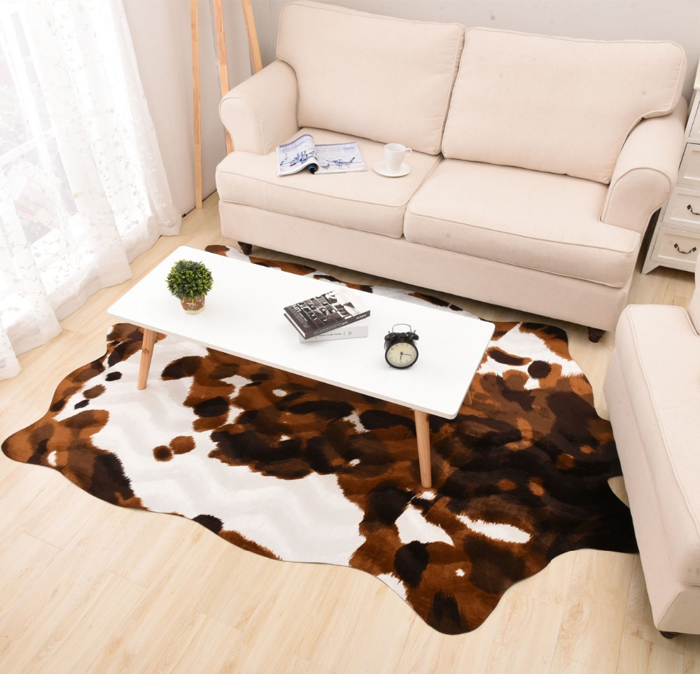 imitation yellow cow leather carpet animal floor mat living room bedroom fashion originality rug. Black Bedroom Furniture Sets. Home Design Ideas