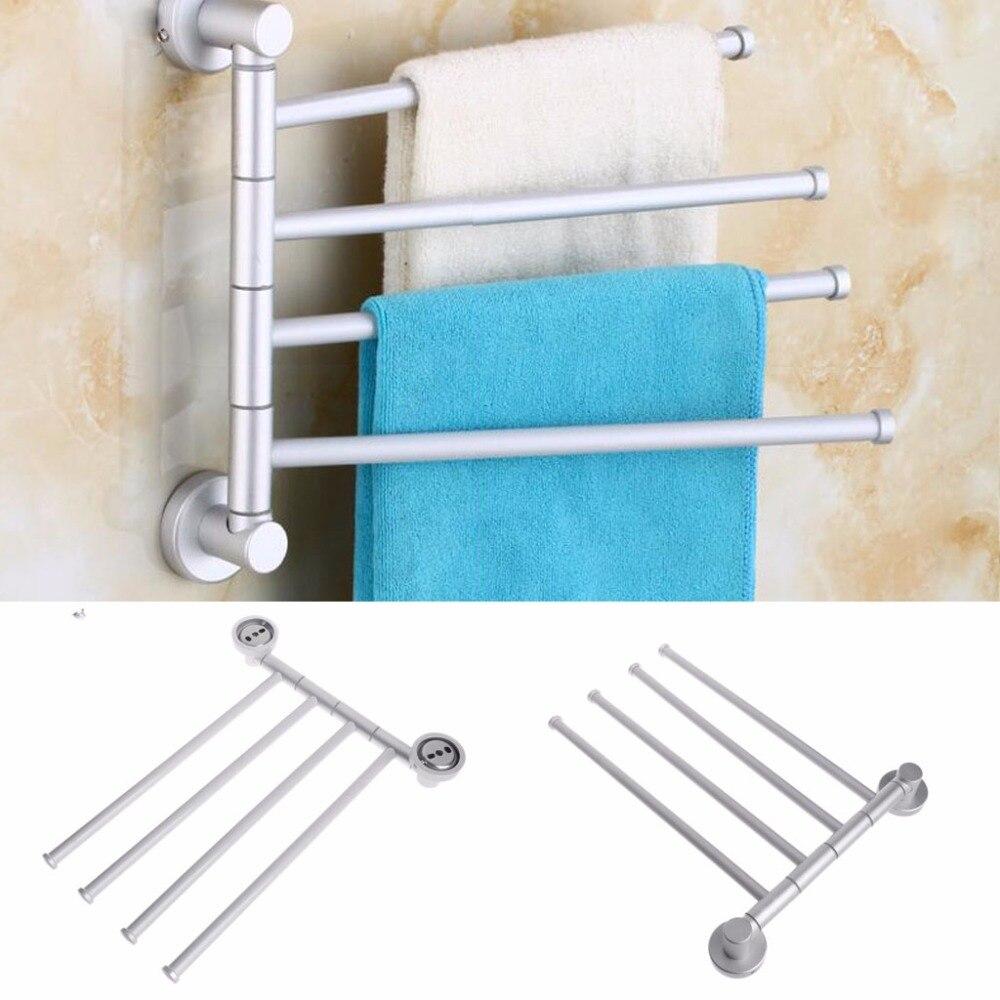 Bath Bathroom Towel Bar Rack 4 Rotating Hanger Wall Mount Towel ...