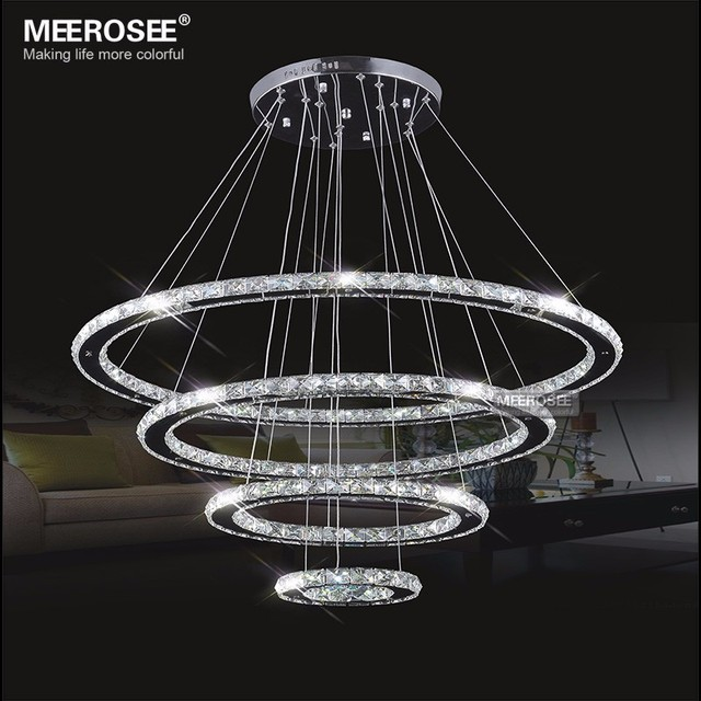Led chandeliers modern stainless steel crystal light led room led chandeliers modern stainless steel crystal light led room kroonluchter hanging lamps 4 rings diy design mozeypictures Images