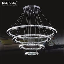 MEEROSEE LED Chandelier Modern Stainless Steel Crystal Light led Kroonluchter Hanging Lamp 4 Rings DIY Design Diamond Chandelier(China)