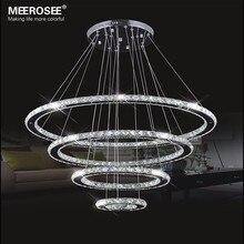 LED Chandeliers Modern Stainless Steel Crystal Light led Room Kroonluchter Hanging Lamps 4 Rings DIY Design Diamond Chandelier