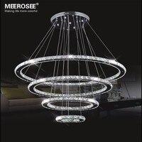 MEEROSEE светодио дный светодиодная люстра Современная нержавеющая сталь хрустальная светодиодная светодио дный Kroonluchter Подвесная лампа 4 коль