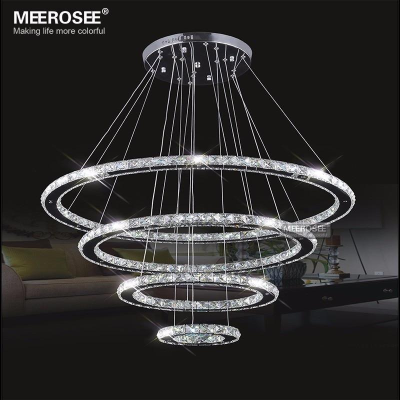 MEEROSEE LED Chandelier Modern Stainless Steel Crystal Light Led Kroonluchter Hanging Lamp 4 Rings DIY Design Diamond Chandelier