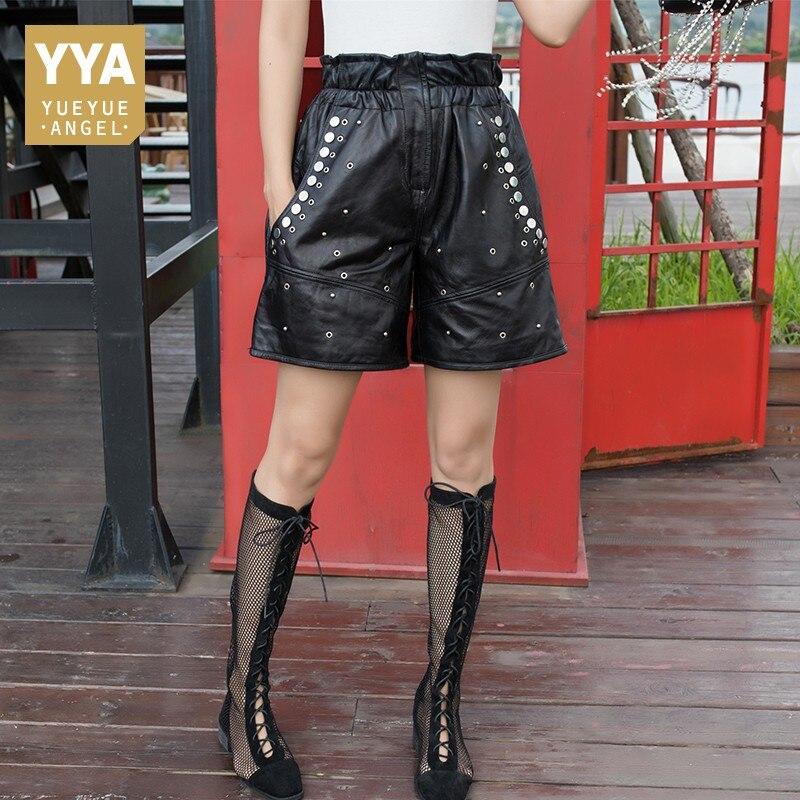 2019 New Spring Autumn Womens Sheepskin Shorts Luxury Genuine Leather Rivet Shorts Female Loose Fit High