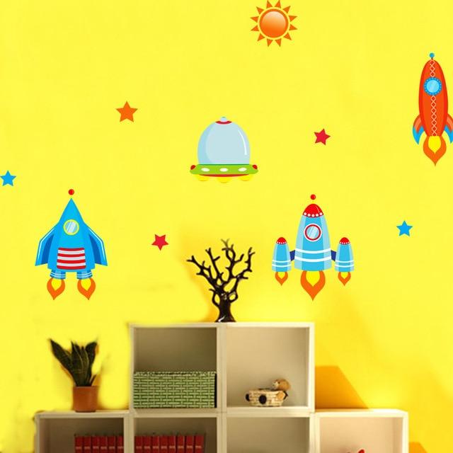 Cartoon Rocket Moon Star Sun Universe Wall Art Decal Kids Children Room Decoration Wallpaper Decor