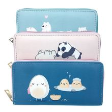 KANDRA PU Leather Bear Print Women Long Wallets Cartoon Chick Phone Cards Holder Dropshipping