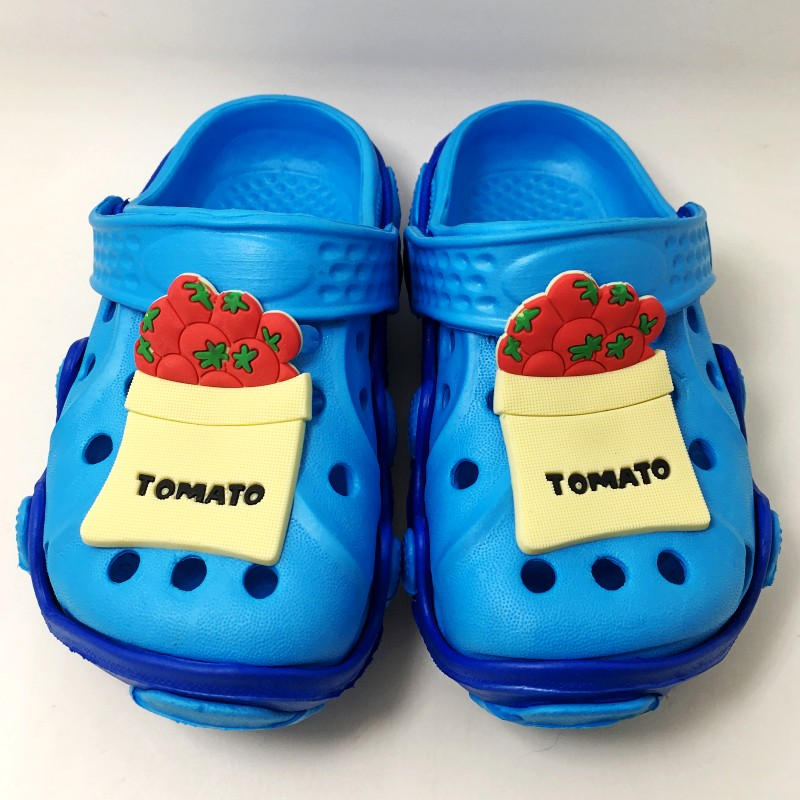 Kids Garden Sandals Clogs Cartoon Doraemon/Tomato/Bread Toast EVA Slippers Shoes For Boys/Girls