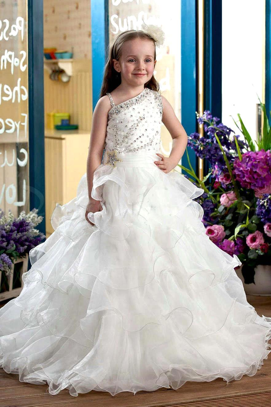 2019 New Arrival Beaded   Flower     Girl     Dresses   Pretty Christmas   Dresses   Vestidos De Comunion Princess White   Girl's   Pageant   Dresses