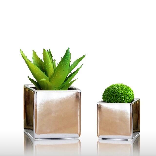 Bloemen In Pot.Goud Sliver Indoor Kleine Plant Vaas Pure Groen Wit Zwart Bloemen Planten Pot Luxe Plating Keramische Ambacht Elegante Leven Supply