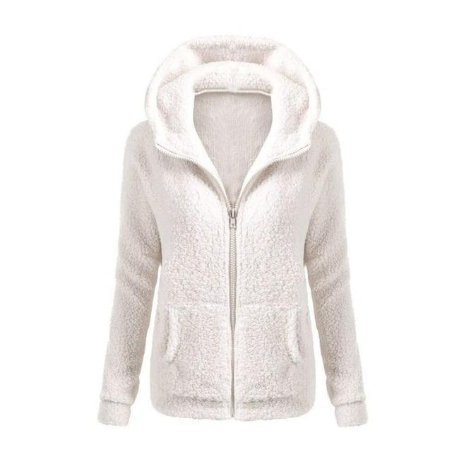 Phụ nữ Rắn Màu Áo Dày Mềm Lông Cừu Mùa Đông Mùa Thu Ấm Áo Khoác Trùm Đầu Dây Kéo Áo Khoác Thời Trang Nữ Áo Outwear Giản Dị