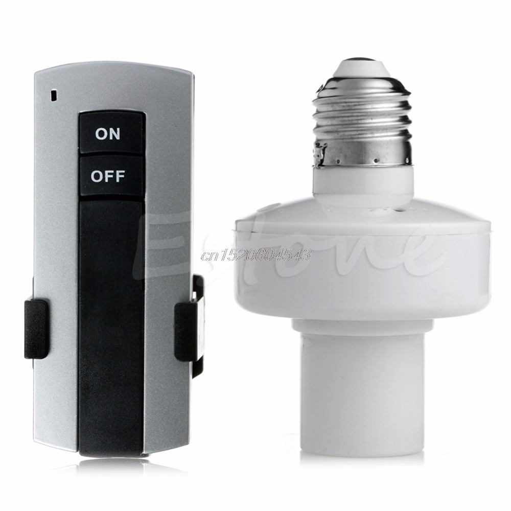 E27 Screw Wireless Remote Control Light Lamp Bulb Holder Cap Socket Switch R06 Drop Ship new rf 315 e27 led lamp base bulb holder e27 screw timer switch remote control light lamp bulb holder for smart home