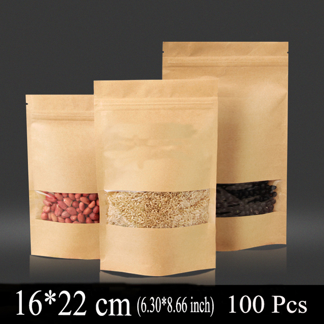 16 22cm 6 30 8 66inch 100pcs New Kraft Paper Bag Zip Lock Bags For