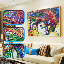 New DIY Diamond Painting Abstract Colorful Hair Women Needlework Crafts  Embroidery Home Decor Gift