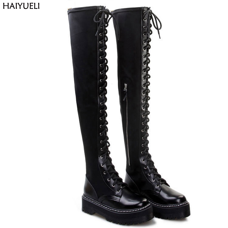 Bota Cano Alto Women Winter Boots Punk Black Over Knee Boots Lace Up Thick Bottom Platform Martin Boots Womens Motorcycle Boots jn колье с цветными бусинами jn