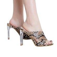 f900d1f25 Pele De Cobra YOUYEDIAN Vidro do falhanço de aleta Das Mulheres Chinelos De Salto  Alto Sandálias de Plataforma Sapatos de Verão .