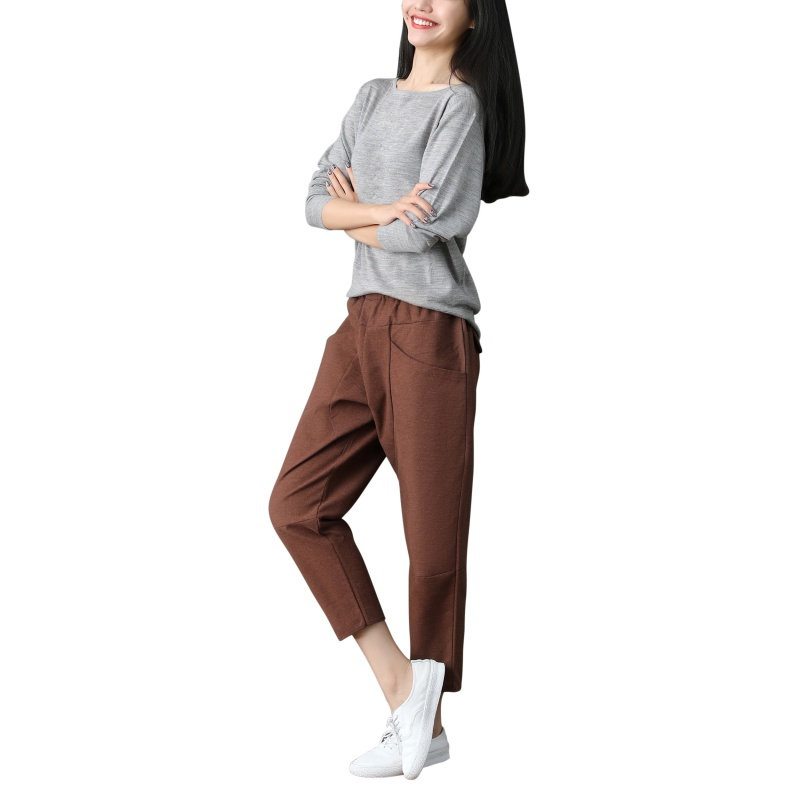 ROPALIA Summer Autumn Women's Casual   Pants     Capris   Fashion Cotton Linen Crops   Pants   Elastic Waist Harem   Pants   Trousers 2019