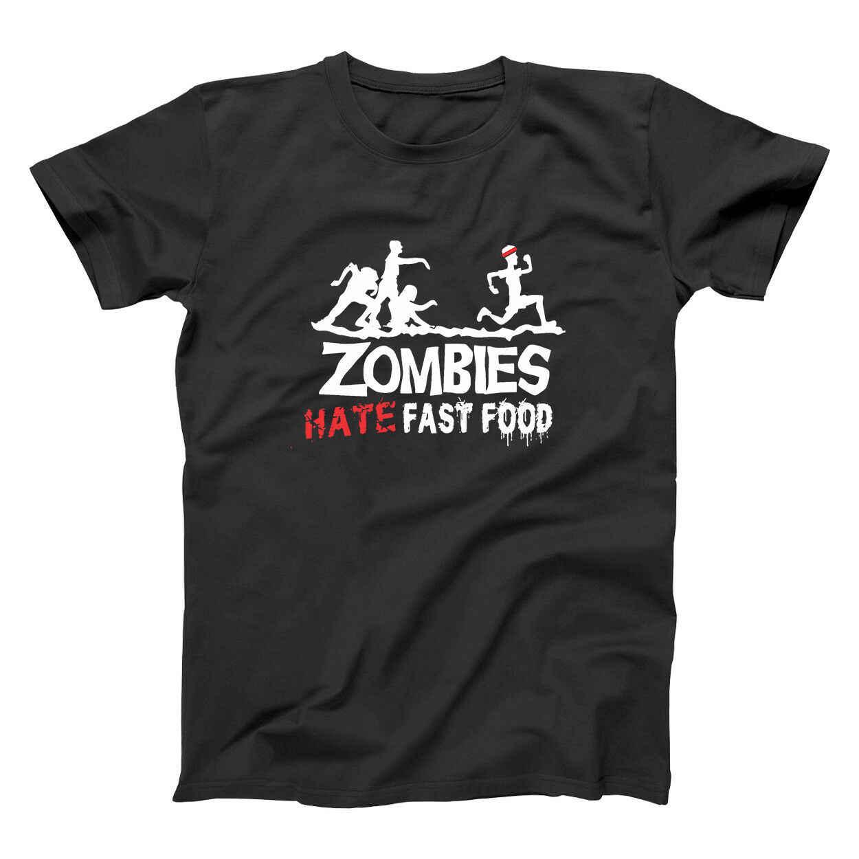 Los zombis odio comida rápida divertido Zombie corredores Cazador negro básico de los hombres camiseta de