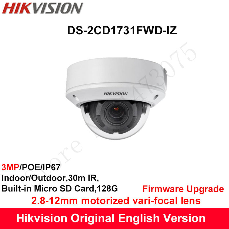 Hikvision English Security Camera DS-2CD1731FWD-IZ 3MP Motorized Vari-Focal IP Camera replace DS-2CD2735F-IZS 2.8~12mm Lens IP67 free shipping in stock new ds 2cd1731fwd iz replace ds 2cd2735f izs vari focal 3mp dome network ip camera