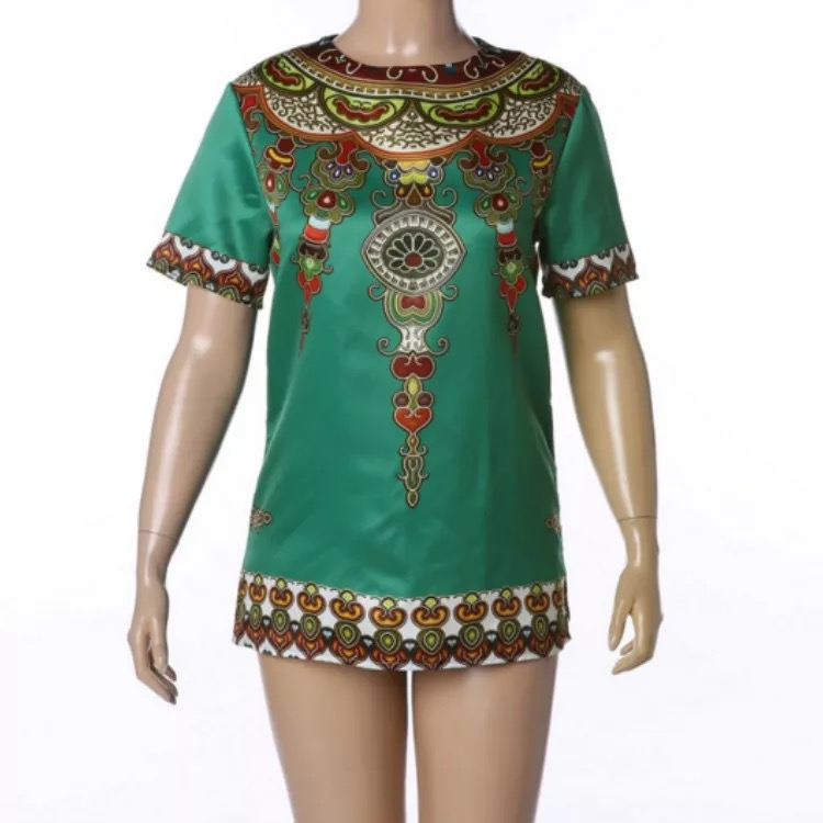 Men Fashion Dashiki Hem Print African Green Boho T-Shirt O Neck Short Sleeves Traditional Male Tee Hippy Top Tee Shirt Plus Size