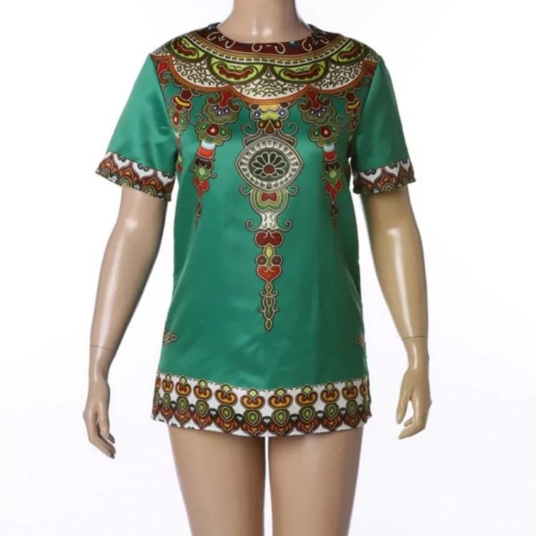Men Fashion Dashiki Hem Print African Green Boho T-Shirt O Neck Short Sleeves Traditional Male Tee Hippy Top Tee Shirt Plus Size