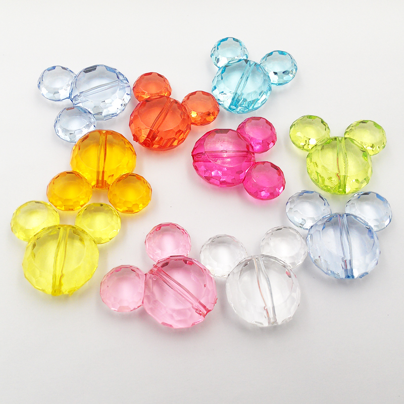 50pcs Transparent Colorful Beads Acrylic Flower Bead Hat Jewelry making DIY