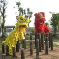 Doble-men traje de la danza del león chino para dos hombres ropa de danza del león chino león chino festival traje de bailarina bailando disfraces