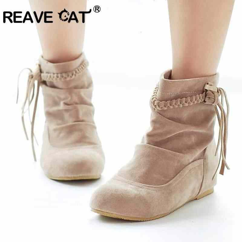 REAVE KEDI Kadın Faux Süet-Deri Saçaklı Topuklu yarım çizmeler Konfor Ayakkabı kadın Moda çizmeler Sapatos femininos Püskül QA3211