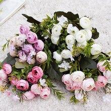 9 kafaları mini ipek yapay çiçekler şakayık flores fleur artificielles Kamelya Ev noel dekorasyon için sahte Çiçek buketi