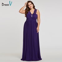 Dressv Purple Plus Size Evening Dress Checp A-Line V-Neck Ruched Crystal Beading Cap Sleeves Floor-Length Evening Dress