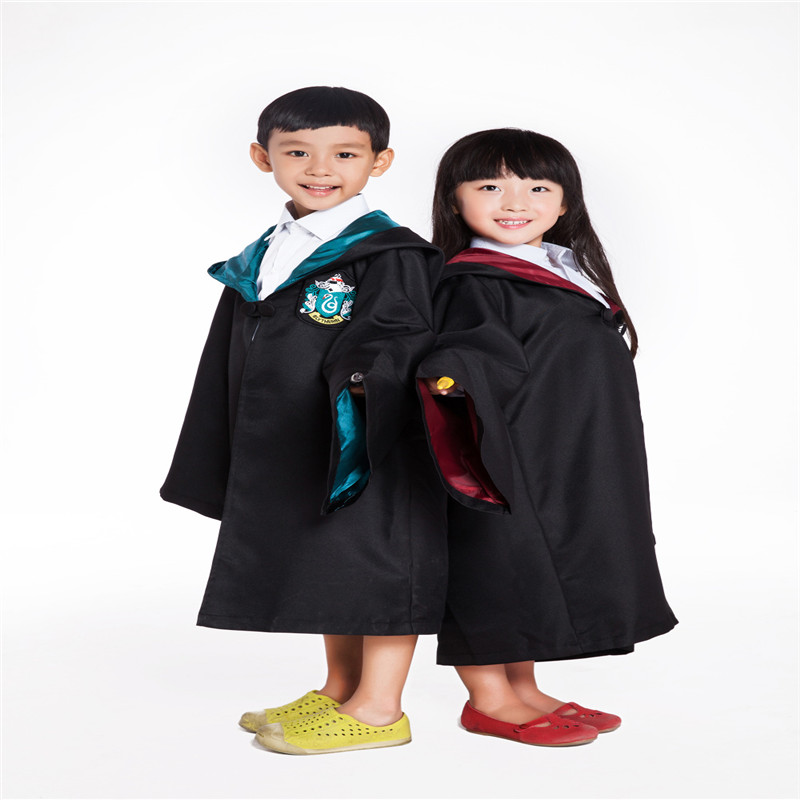 Cosplay High Quality  Kids Robe Gryffindor Slytherin Ravenclaw Hufflepuff Costume Children Cloak