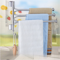 Bathroom Accessories Stainless Steel 3 Rod Rotating Bathroom Towel Bar Belt Clothes Rack Holder