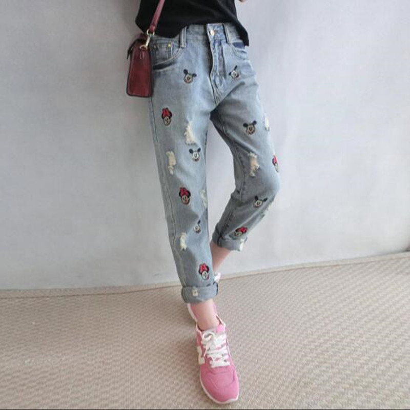 Ripped Jeans For Women Limited Mickeying Embroidery Hole 2017 Jeans Women Casual Denim Ankle-length Boyfriend Pants Print Harem 2017 spring new women sweet floral embroidery pastoralism denim jeans pockets ankle length pants ladies casual trouse top118