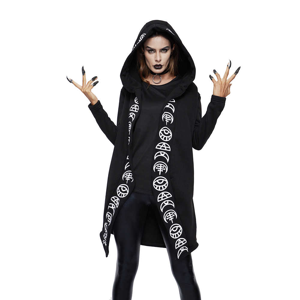 e3a727c942 2018 Fall Gothic Casual Cool Chic Black Plus Size Women Sweatshirts Loose  Cotton Hooded Plain Print Female Punk Hoodies