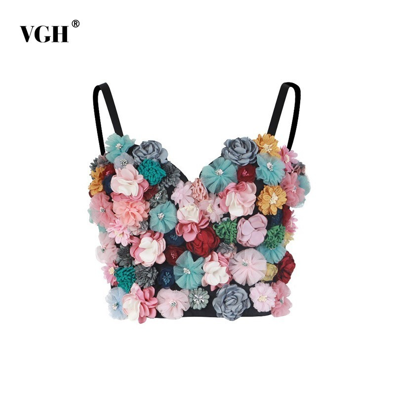 VGH Embroidery Flower Sexy Camis Tops Women Sleeveless Off Shoulder Short Length 2019 Summer Clothing Female Fashion New Tide