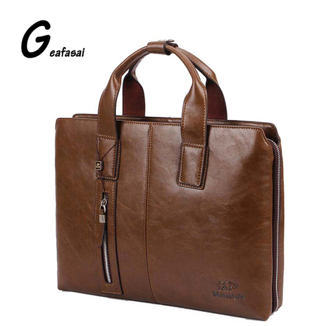 e6bd5476e753 dark brown kahki black Men Business Leather Handbags shoulder Computer  laptop Bags good quality leather Briefcase shoulder belt. Price