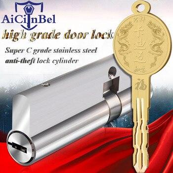 Supergrado C Acero inoxidable antirrobo cerradura de la puerta núcleo de seguridad cilindros clave 70mm-90mm cerradura de cilindro de puerta 8 teclas