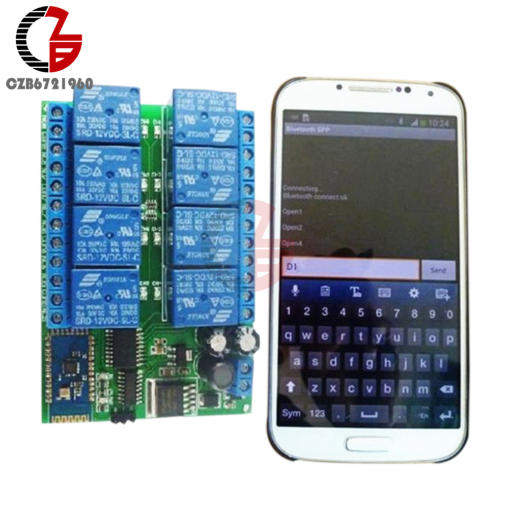 DC 12V 8 Channel Relay Module Bluetooth Wireless Control Switch for Android Smart Mobile Phone App Control Momentary Interlock 220v 4 channel wifi relay module phone app wireless remote control wifi switch jog self lock interlock 433m for smart appliances