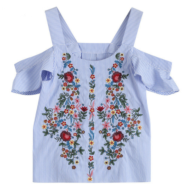 7563174d2a6 Kenancy Thick Strap Botanical Embroidered T shirts Ruffle Sleeve Top Women  Cold Shoulder Tops Blue Short Sleeve Summer T shirts