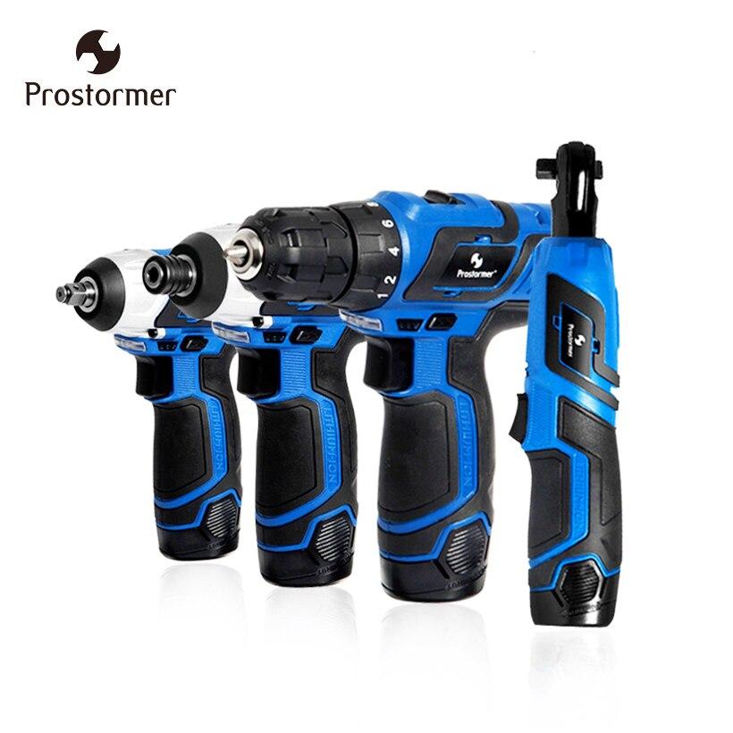 Prostormer 12 В электродрели или шуруповерт или электрический ключ или храповым механизмом Аккумуляторная дрель бытовой Мощность инструменты