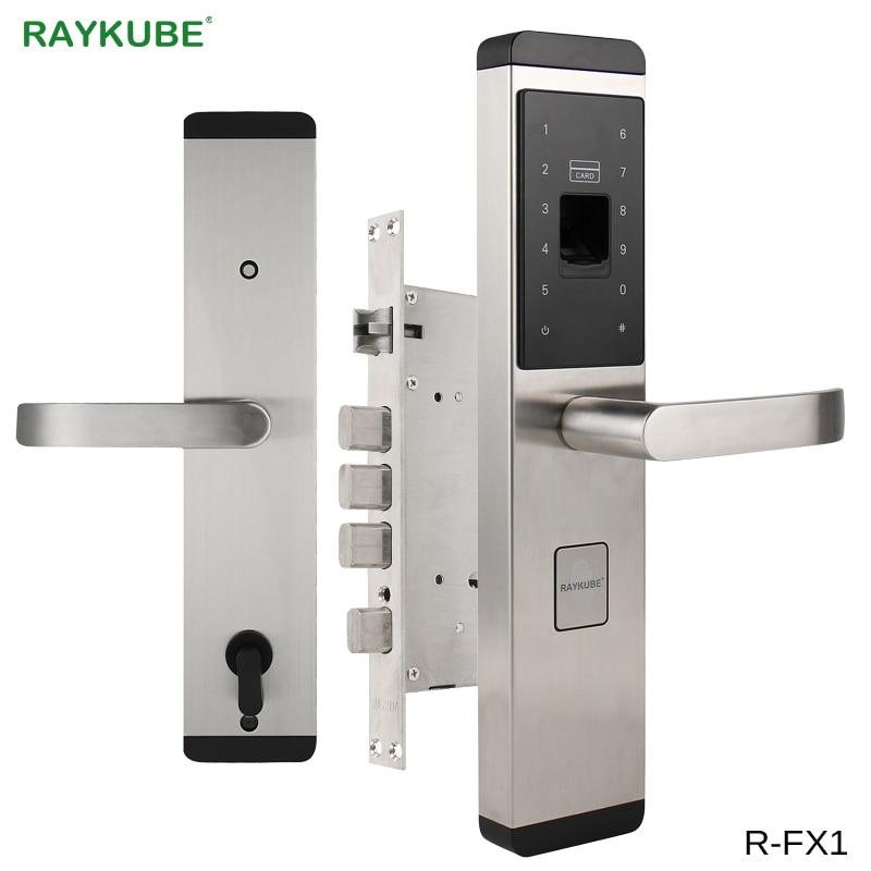RAYKUBE блокировка отпечатков пальцев для дома Противоугонный дверной замок без ключа Умный Замок с цифровым паролем RFID разблокированный R-FX1