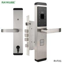 RAYKUBE блокировка отпечатков пальцев для дома Противоугонный дверной замок без ключа Умный Замок с цифровым паролем RFID разблокированный R FX1