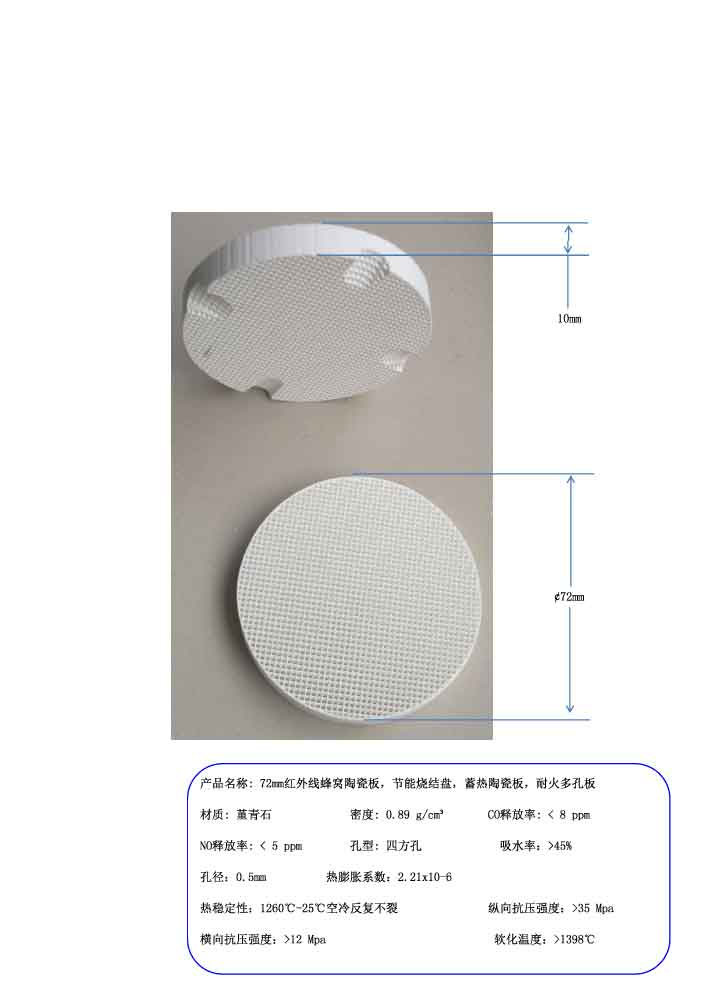 72mm Infrared Honeycomb Ceramic Plate Refractory Perforated Plate цена 2017