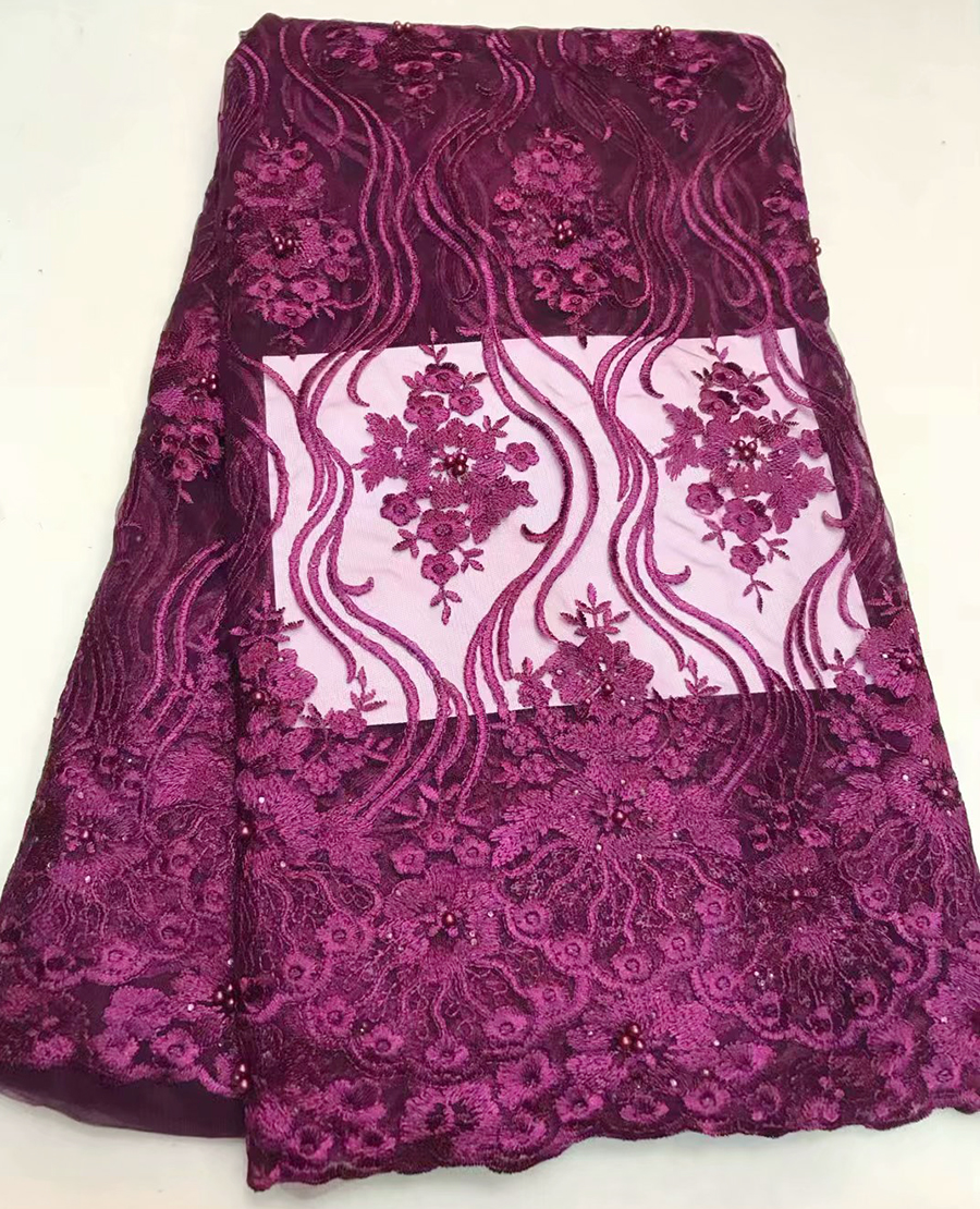 5yards 2018 new design french embroidered tulle lace fabric with bead for party dress.latest nigerian african lace5yards 2018 new design french embroidered tulle lace fabric with bead for party dress.latest nigerian african lace