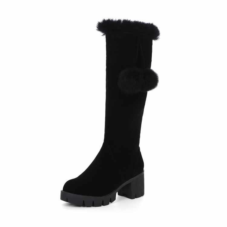 2016 Winter Stiefel Große Größe 33-43 Neue Runde Kappe Stiefel Für Frauen Fersen Fashion Winter Schuhe Casual Schnee stiefel 999-2