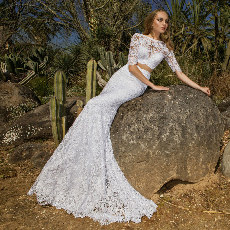Exquisite Spanish Two Piece White Lace Sheath Wedding Dresses Half