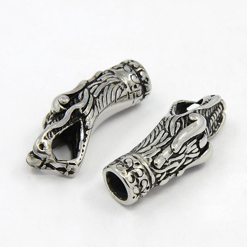 304 Stainless Steel Cord Ends Dragon 33x14mm Hole 8x5mm and 6mm