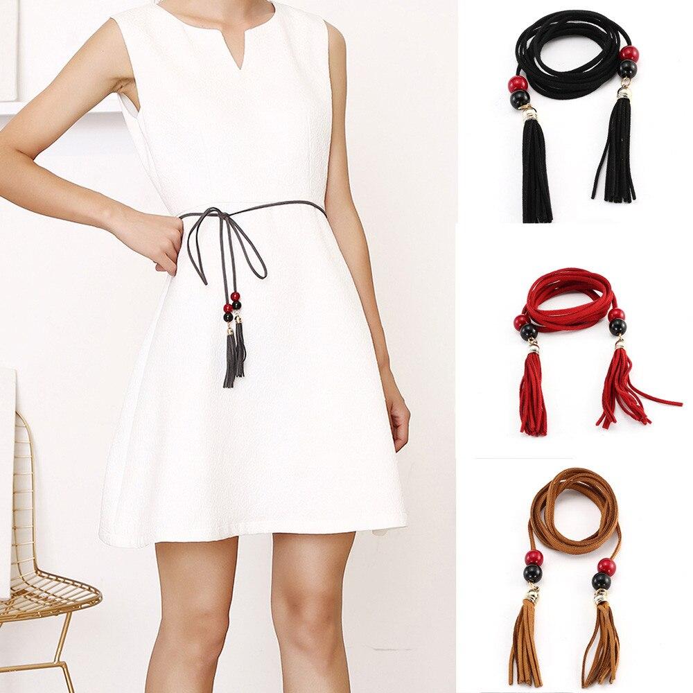 Tejido a mano cuero larga trenza diseñador cinturón con borla partido cinturones mujeres niñas cadena cintura mujeres de la correa