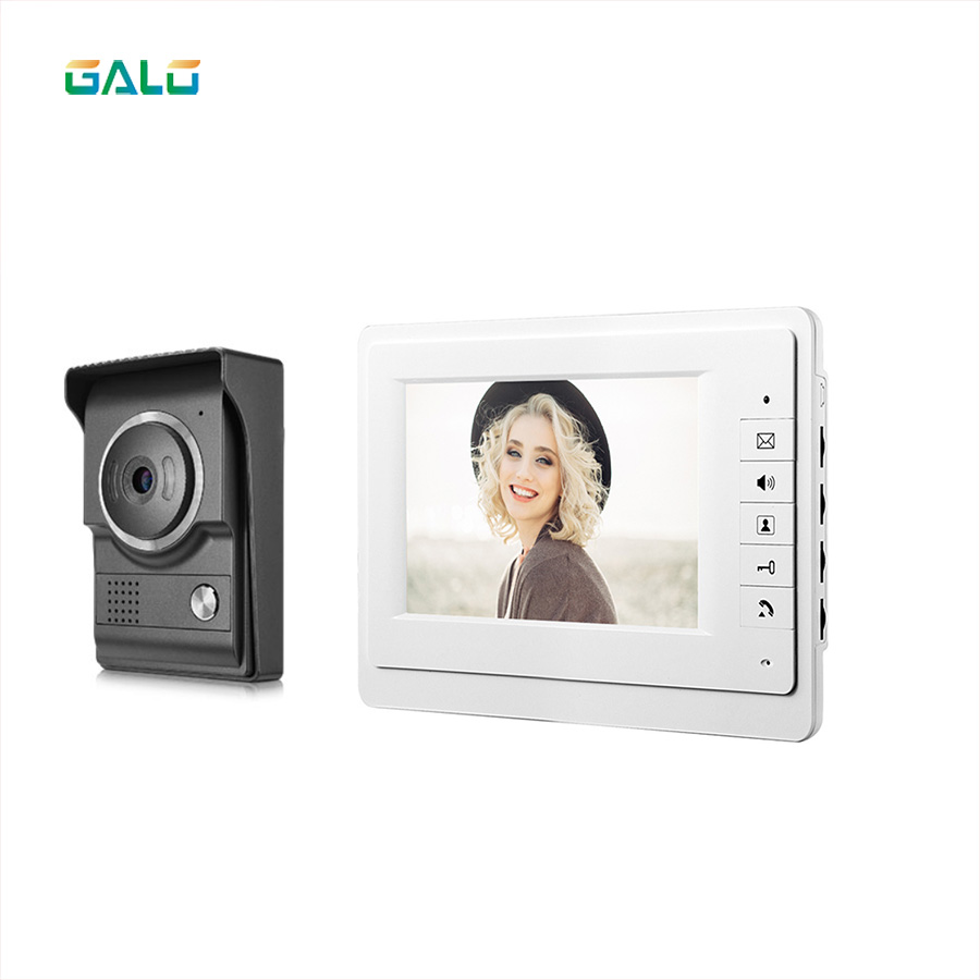 Security Video Door Intercoms 7 Inch Wired Video Doorbell Door Phone Intercom Entry System Night Vision 1-camera 1-monitor