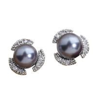 Contenitore di regalo 100% d'acqua dolce genuino 7*7mm black pearl argento fresco per le donne orecchini con perno ed0019