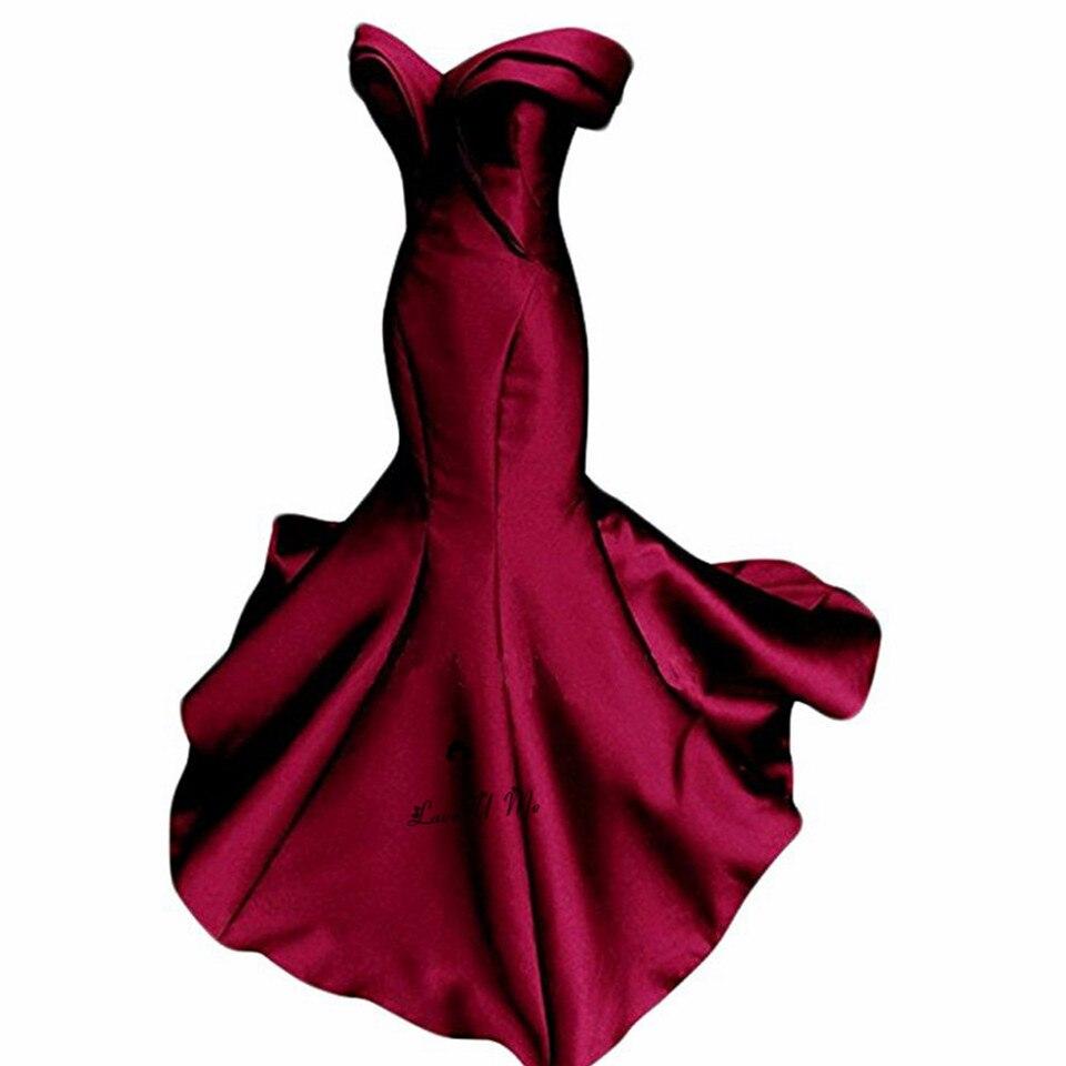 einfache günstige burgund prom dresses 2018 schulterfrei taft meerjungfrau  lange abendkleider rot grün vestidos de formatura baile